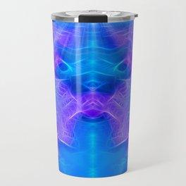 The Way to Paradise - Blue/lavender Fractal Art Travel Mug