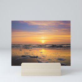 Sunset at the beach | Beach travel photography art print | The Netherlands | fine art |   Mini Art Print