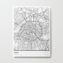 Paris Simple Map Metal Print