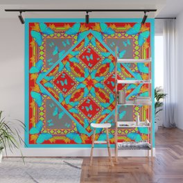Decorative Western Style Red Patterns & Turquoise Butterflies Wall Mural