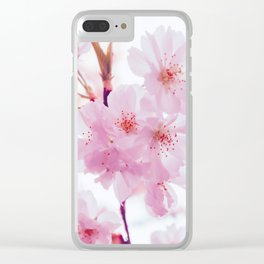 Pink Springtime Cherry Blossom Pink Petals Floral Photo Soft Texture Relaxing Monochromatic Palette Clear iPhone Case