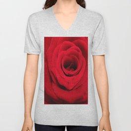 Expansion red rose flower Unisex V-Neck