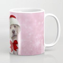 Drawing dog, puppy Labrador in red hat of Santa Claus Coffee Mug