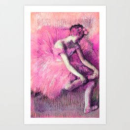 The Dancer by Edgar Degas Pink Lavender Peach Art Print