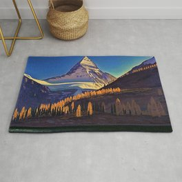 Rocky Mountains with Fir and Aspen Trees landscape painting by Rockwell Kent Rug