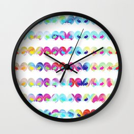 Colorful easter eggs and rabbits II Wall Clock