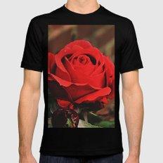 Red Rose Mens Fitted Tee Black MEDIUM