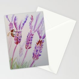 Purple Lavender and a Bee Stationery Cards