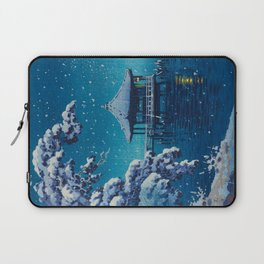Tsuchiya Kôitsu Japanese Woodblock Vintage Print Blue Winter Snow Pagoda On Lake Laptop Sleeve