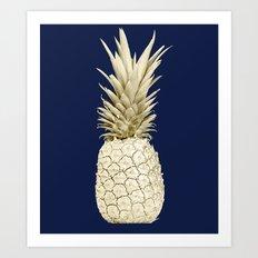 Pineapple Pineapple Gold on Navy Blue Art Print