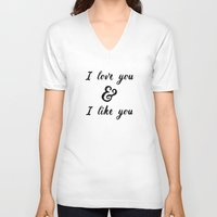 parks and rec V-neck T-shirts featuring I Love You and I Like You- Ben & Leslie, Parks and Rec by Genuine Design Co.