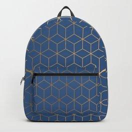 Classic Blue Gold Geometric Pattern Backpack