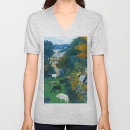 "Paul Gauguin ""La bergère bretonne (The Breton shepherdess)"" Unisex V-Neck"