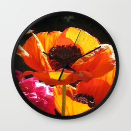 Orange Poppies Wall Clock