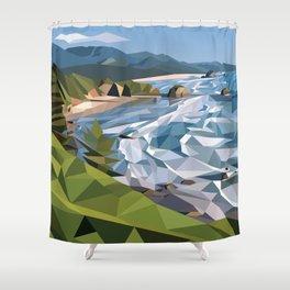 Geometric Cannon Beach Shower Curtain