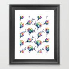 Rainbow Crystal Clear Snails Framed Art Print
