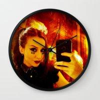 selfie Wall Clocks featuring Selfie by Danielle Tanimura