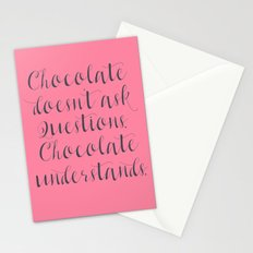Chocolate understands, shabby chic, quote, coffeehouse, coffee shop, bar, decor, interior design Stationery Cards