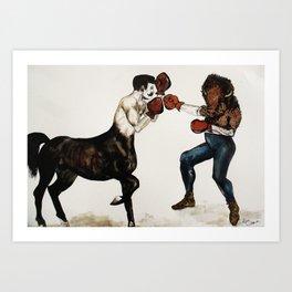 Centaur boxing Buffalo or Bison Art Print