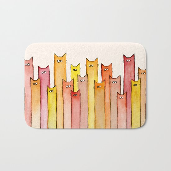 Cats Autumn Colors Pattern Whimsical Cat Orange Red Yellow Animals Bath Mat