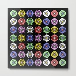 Pastel Flowers Pattern (On Black) Metal Print