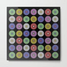 Pastel Flowers Pattern (On Black) Metal Print