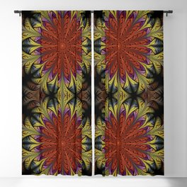 Fractal feathers in orange, gold / yellow and purple Blackout Curtain