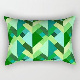 Modern Abstract Triangles, Emerald Green and Aqua Rectangular Pillow