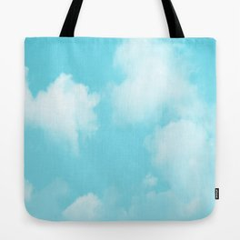 Aqua Blue Clouds Tote Bag