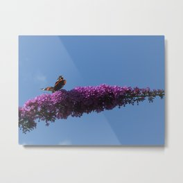 Buterfly and Flowers Metal Print