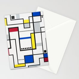Lost In Transit - Red, Yellow, Blue and Gray Stationery Cards
