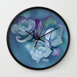 Blue Sedum Wall Clock