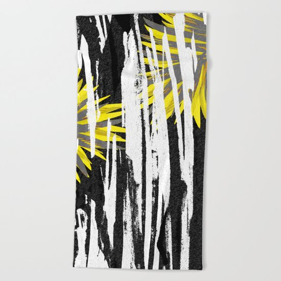 Abstract Palm Tree Leaves Design Beach Towel