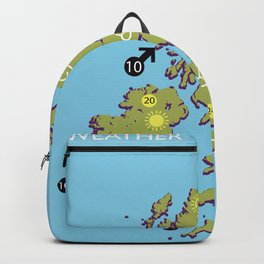 British vintage style television weather map Backpack