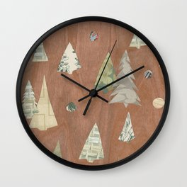 Retro Christmas on Wood Wall Clock