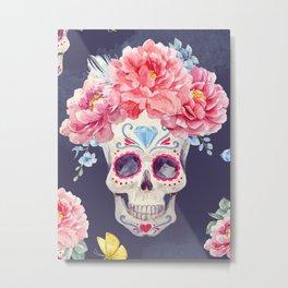 Mexican Calavera Skull Flower Crown Floral Kingdom Metal Print