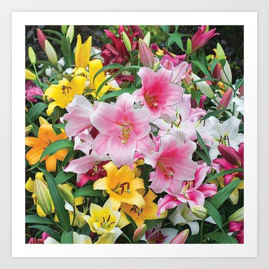 SPRING LILIES FLOWER GARDEN MEDLY Art Print