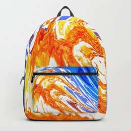 Riding the Wave of Orange Emotion; Fluid Abstract 53 Backpack
