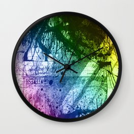 Rainbow Grunge Wall Clock