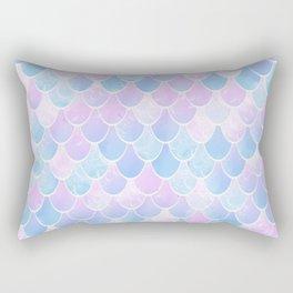 Mermaid Art, Pastel, Pink, Blue and White Rectangular Pillow