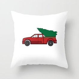 """Funny and cute """"Santa's Jeep Christmas Tree"""" Makes a nice and awesome gift for everyone this holiday Throw Pillow"""
