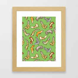 geckos in green Framed Art Print