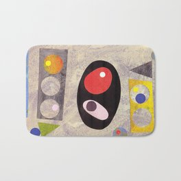 Atomic 50s 60s Inspired Retro Collage Abstract Pink Bath Mat