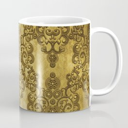 Gold Mustard Yellow Big Damask Pattern Coffee Mug