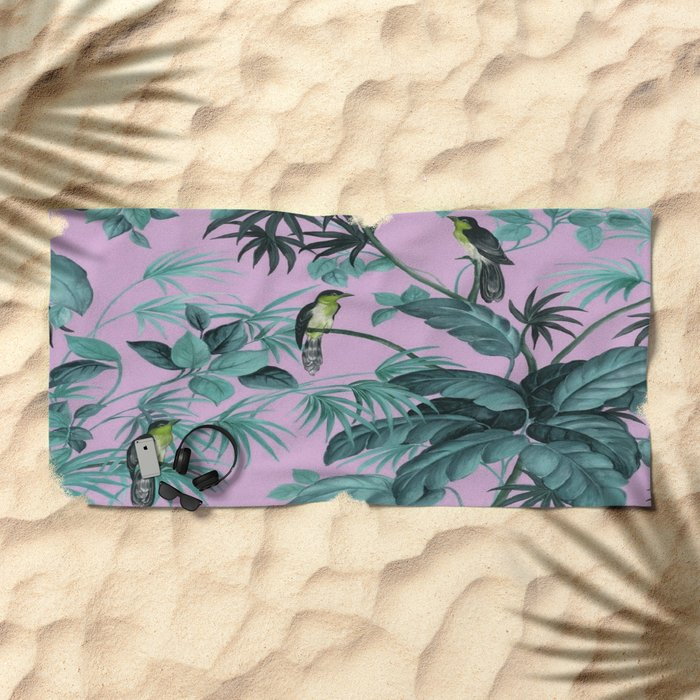 Birds and leaves Beach Towel