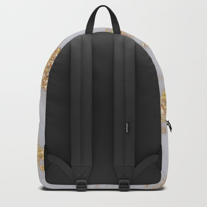 Pink + Gold Glitter Marble Backpack