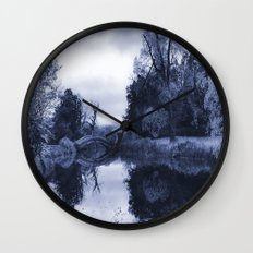 Chinese Bridge at Wrest Park in Blue Wall Clock