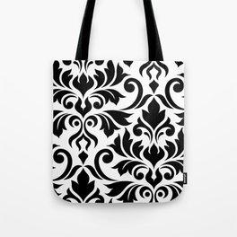 Flourish Damask Art I Black on White Tote Bag