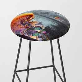 ElectricJellyfish Worlds in a Forest Bar Stool