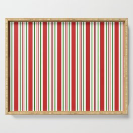 Red Green and White Candy Cane Stripes Thick and Thin Vertical Lines, Festive Christmas Serving Tray